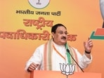 BJP chief JP Nadda addressing a meeting of party's office bearers in New Delhi on Monday.