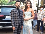 Rajkummar Rao and Kriti Sanon posed outside the sets of The Kapil Sharma Show. They came to promote their upcoming film, Hum Do Hamare Do.(Varinder Chawla)