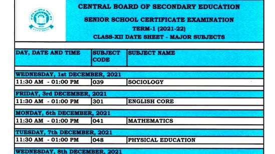 CBSE 12th date sheet 2021: CBSE has released the date sheet for all major subjects. The board will provide date sheet for minor subjects to the schools separately.(CBSE)