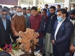 Union commerce and industry minister Piyush Goyal (third from left) in Jammu and Kashmir. (PIB Photo)