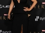 Salma Hayek poses at the premiere for the film Eternals in Los Angeles. (REUTERS)
