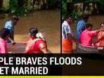 Couple floats to wedding venue in cooking vessel in rain-hit Kerala