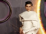Zendaya poses as she arrived for a screening of the film Dune in London. (REUTERS)