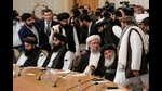Members of the Taliban delegation, icluding deputy prime minister Abdul Salam Hanafi (C), attend an international conference on Afghanistan in Moscow on October 20, 2021. (AFP)