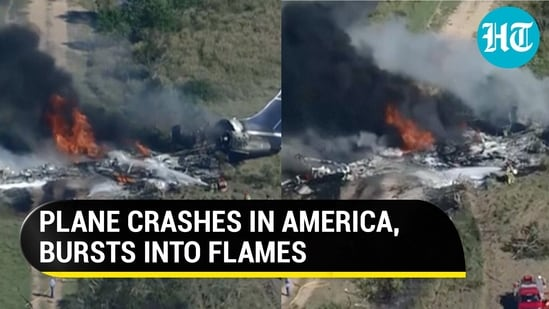 Plane crashed after hitting a fence while taking off from Houston Executive Airport, Texas (AFP/CBS)