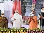 Prime Minister Narendra Modi inaugurated the Kushinagar International Airport, in Kushinagar, Uttar Pradesh on October 20. Chief Minister Yogi Adityanath, Governor Anandiben Patel and other dignitaries were also present at the ceremony.(ANI)