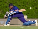 India's Rohit Sharma bats during the Cricket Twenty20 World Cup warm-up match between India and Australia in Dubai, UAE, Wednesday, Oct. 20, 2021.(AP/PTI)