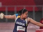 India's Kamalpreet Kaur participates in the women's discus throw final event at Tokyo Olympics 2020(PTI)
