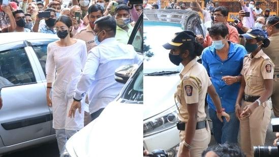 Ananya Panday and Chunky Panday at the NCB office on Thursday.(Varinder Chawla)