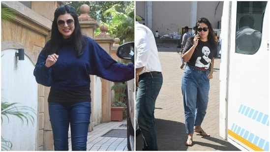 Friday was a busy day for the stars of tinseltown. Paparazzis spotted Kareena Kapoor and Sushmita Sen on the streets of Mumbai, engrossed in their professional errands. But they both slayed casual fashion in their own ways. We are taking notes.(HT Photos/Varinder Chawla)