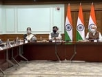 Prime Minister Narendra Modi at the meeting with seven vaccine manufacturers on the occasion of India achieving 100-crore vaccine doses milestone. (Screengrab)