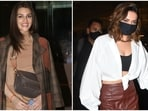 There is a new voguish trend in B-Town taking over your favourite celebrities' wardrobe - leather pants, and you might want to hop on this trend too. Leather ensembles become a style staple with the arrival of winters. And Bollywood divas like Kriti Sanon, Deepika Padukone, and Alia Bhatt are already adding this fashion statement to their looks. Moreover, instead of going for the traditional black colour, these stars present many more ways to incorporate the fabric into your wardrobe.(HT Photo/Varinder Chawla)