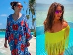 Bipasha Basu has been setting major fashion goals from her beach vacation and constantly treating her fans with stills from her Maldives stay.(Instagram/@bipashabasu)
