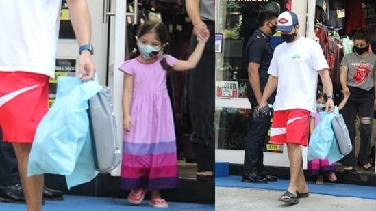 Soha Ali Khan and Kunal Kemmu were spotted shopping with daughter Inaaya in Mumbai Saturday morning. (Varinder Chawla)