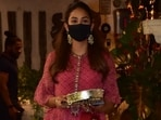 Today, Shahid Kapoor's wife, Mira Rajput, arrived at Anil Kapoor's residence in Mumbai to celebrate the Karva Chauth festivities. She attended the celebrations along with several big names from the industry. For the occasion, Mira was a vision in a bright pink printed ensemble.(HT Photo/Varinder Chawla)