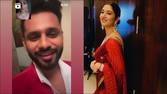 On their first Karva Chauth together, newly-weds Disha Parmar and Rahul Vaidya were not together but the diva made sure to make him go weak in the knees with her solah shringaar, distance no bar, as she observed a fast and performed the traditional rituals on a video call.(Instagram/dishaparmar)