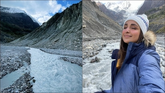 After holidaying with family in the lowest part of the world - the Maldives, Parineeti Chopra took off to explore the highest point i.e. the snowcapped mountain range in Nepal.(Instagram/parineetichopra)