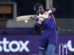 India's Hardik Pandya bats during the Cricket Twenty20 World Cup match between India and Pakistan in Dubai, UAE, Sunday, Oct. 24, 2021.(AP)