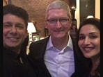 The image shows Shriram Nene and Madhuri Dixit with Tim Cook.(Instagram/@drneneofficial)
