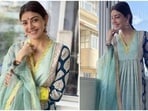 The festive season means revamping your wardrobe to create some standout fashion moments. And in case you are in a fix right now, Kajal Aggarwal's gorgeous look in a printed anarkali set will definitely revamp your wardrobe. The star wore the ensemble for the Karva Chauth celebrations with her husband, Gautam Kitchlu.(Instagram/@sayali_vidya)