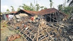 A house damaged due to Cyclone Amphan, at Kakdwip in the Sunderbans, West Bengal, on May 22, 2020. ht file photo