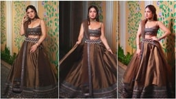 Bhumi Pednekar blessed our feeds with these gorgeous pictures of herself in a rustic coloured lehenga.(Instagram/@bhumipednekar)
