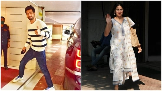 Spotting our favourite celebrities, engrossed in their personal and professional errands, in the streets of Mumbai, is our favourite thing to do. Tuesday was no different as Sara Ali Khan and Vicky Kaushal were snapped by paparazzi, busy in their professional activities. Both of the actors showed us how to style white, for casual and ethnic attires. We are taking notes.(HT Photos/Varinder Chawla)
