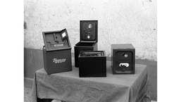 Different samples of specially designed, steel ballot boxes were used in India's first general election. These ballot boxes were burglar-proof and helped keep the confidentiality of the ballot in October, 1951.(Courtesy Photo Division, PIB)