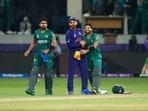 Team India skipper Virat Kohli shares a hug with Pakistan wicketkeeper-batter Mohammad Rizwan.(AP)