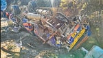Wreckage of a bus that fell in J&K's Doda on Thursday. (PTI)