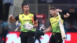 Australia's Marcus Stoinis, left, and Steven Smith celebrate their team win against Sri Lanka during the Cricket Twenty20 World Cup match in Dubai, UAE, Thursday, Oct. 28, 2021. (AP Photo/Aijaz Rahi)(AP)