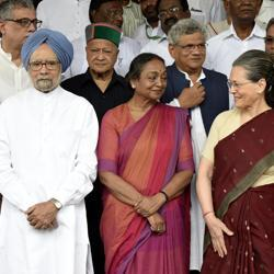 Meira Kumar with Opposition leaders at Parliament during filing of her nominations for the presidential poll.