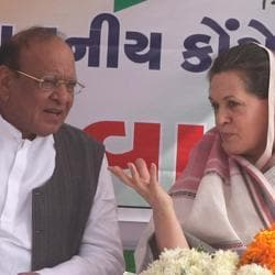 A file photo shows Congress president Sonia Gandhi with Shankarsinh Vaghela during an election rally in Sabarkantha in 2007.