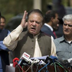 Pakistani Prime Minister Nawaz Sharif speaks to reporters outside the premises of the Joint Investigation Team, Islamabad, Pakistan, June 15