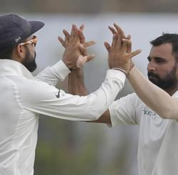 Mohammed Shami picked up two wickets as Sri Lanka ended the Day 2 of the first Test against India at 154/5.