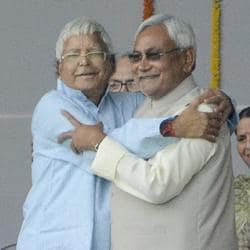 Lalu Yadav with Nitish Kumar during the oath taking ceremony in November 2015.