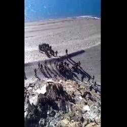 A screengrab of the video that purportedly shows Indian and Chinese soldiers pelting stones at each other.