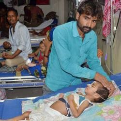 An inside view of a ward of BRD Hospital in Gorakhpur on Friday where More than 60 children died in a week since August 9, allegedly due to oxygen supply cut on Friday.
