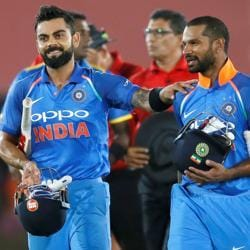India captain Virat Kohli and Shikhar Dhawan after the team's win over Sri Lanka in the first ODI in Dambulla.