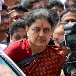 A file photo shows AIADMK general secretary VK Sasikala at Jayalalithaa's shrine.