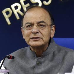 Union finance minister Arun Jaitley addresses a press conference after a cabinet meeting in New Delhi on Wednesday.