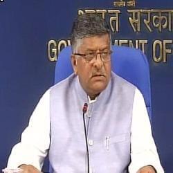 Law minister Ravi Shankar Prasad speaks during a press conference in New Delhi.