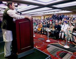 Rahul Gandhi during a meeting with NRIs at Times Square in New York City on Wednesday.