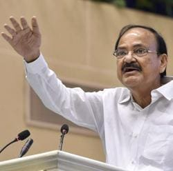 File photo of Vice President Venkaiah Naidu addressing the gathering at a function in New Delhi. In Mohali, Naidu touched upon the issues of intolerance and language.