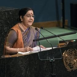 External affairs minister Sushma Swaraj addresses the United Nations General Assembly, on September 23, 2017, at UN headquarters.