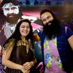Honeypreet Insan seen with Gurmeet Ram Rahim Singh at the promotion of the film MSG - The Warrior Lion Heart.