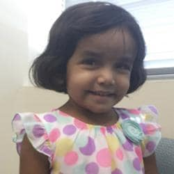 This undated photo provided by the Richardson Texas Police Department shows three-year-old Sherin Mathews.