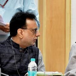 Union Finance Minister Arun Jaitley and Revenue Secretary Hasmukh Adhia (L) at the 22nd meeting of the Goods and Services Tax (GST) council, in New Delhi on Friday.