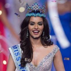 Miss India Manushi Chhillar smiles after being crowned the 67th Miss World in Sanya, China, on November 18, 2017.