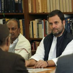 Congress vice president Rahul Gandhi attends a Congress Working Committee (CWC) meeting in New Delhi on Monday.
